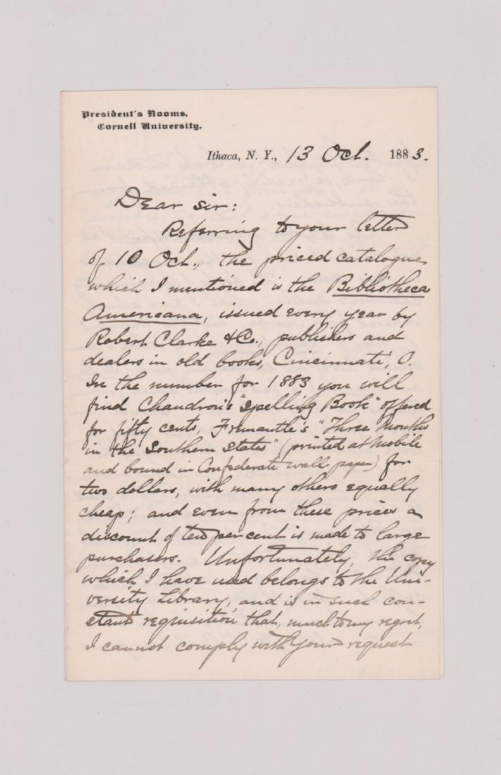 Andrew Dickson White, 1883 Signed Letter