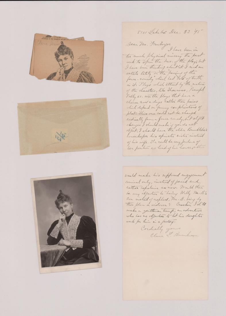 Clara Louise Burnham signed letter, photo & news