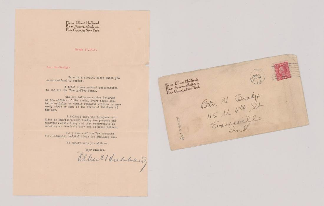 Elbert Hubbard, signed letter and envelope