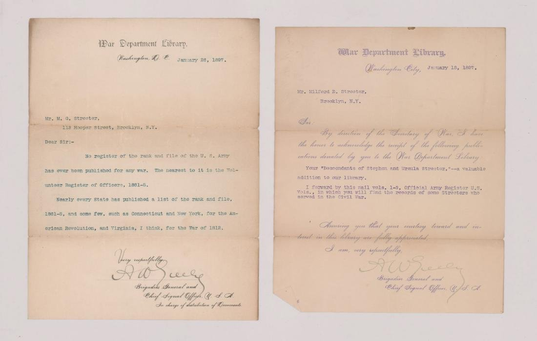 Two Adolphus Greely signed letters, January 1897