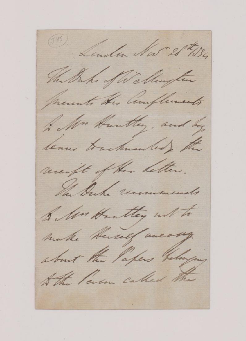 Duke of Wellington, Handwritten note, 1834