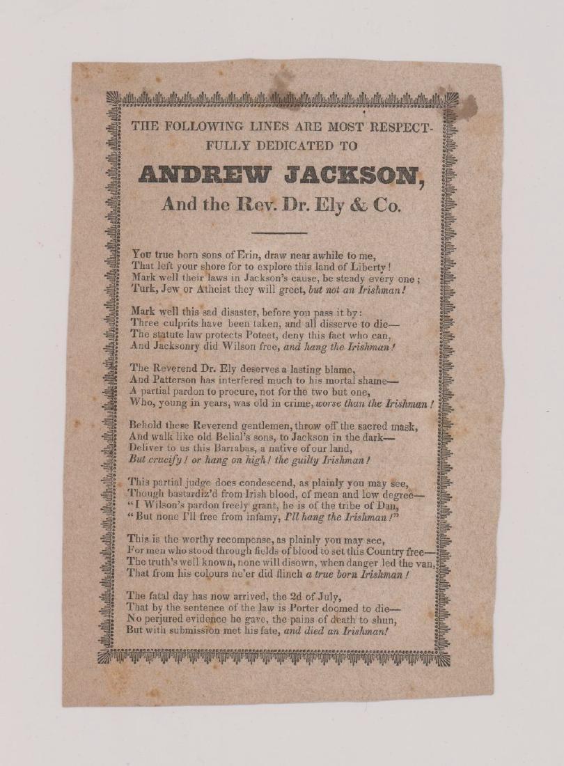 Andrew Jackson Handbill