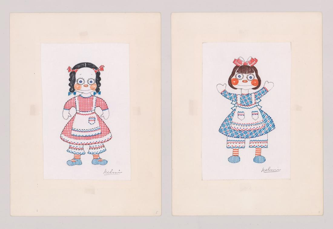 Helmi Juvonen Pair Original Drawings