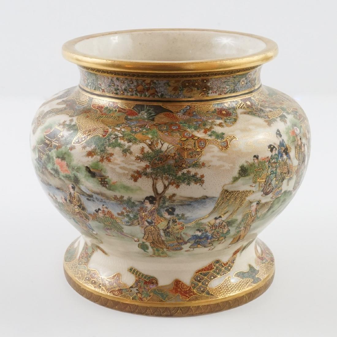 Antique Japanese Ryozan Satauma Jar with Stand - 7
