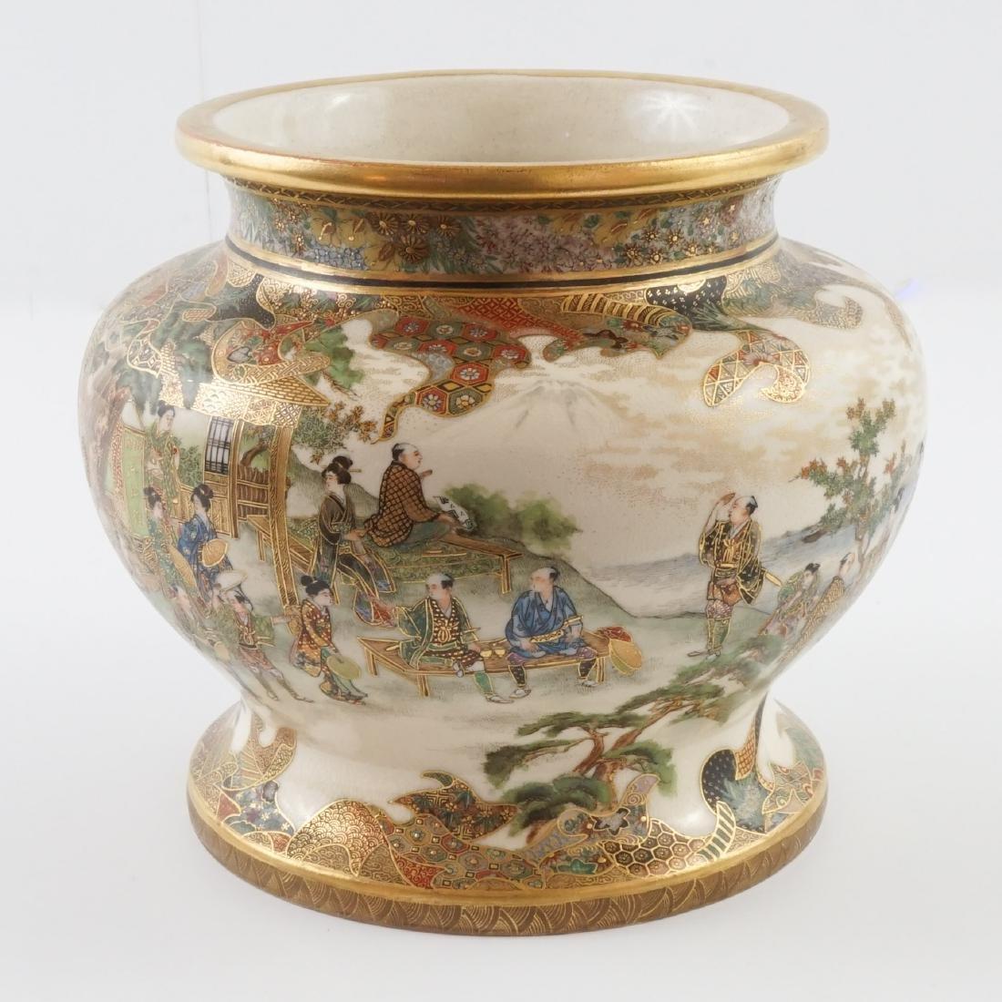 Antique Japanese Ryozan Satauma Jar with Stand - 9