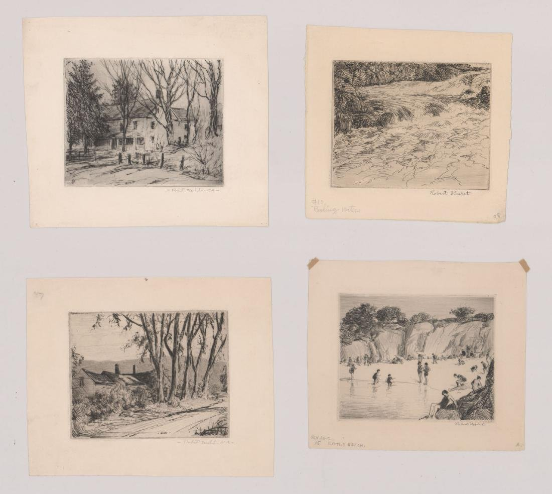 Four Robert Nisbet Signed Etchings