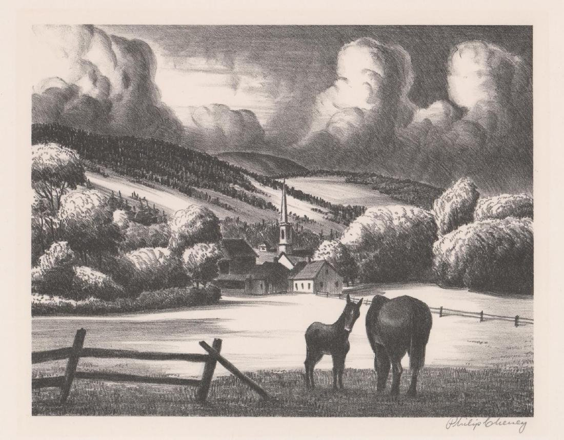 Philip Cheney Lithograph [Vermont Village]