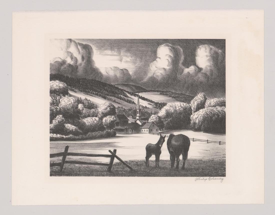 Philip Cheney Lithograph [Vermont Village] - 2