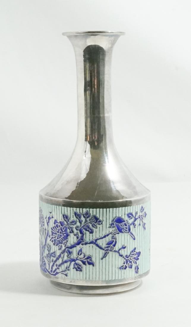 Fine Asian 99% Silver and Enamel Vase