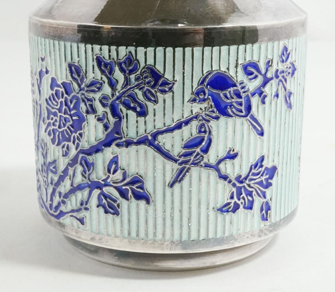 Fine Asian 99% Silver and Enamel Vase - 2