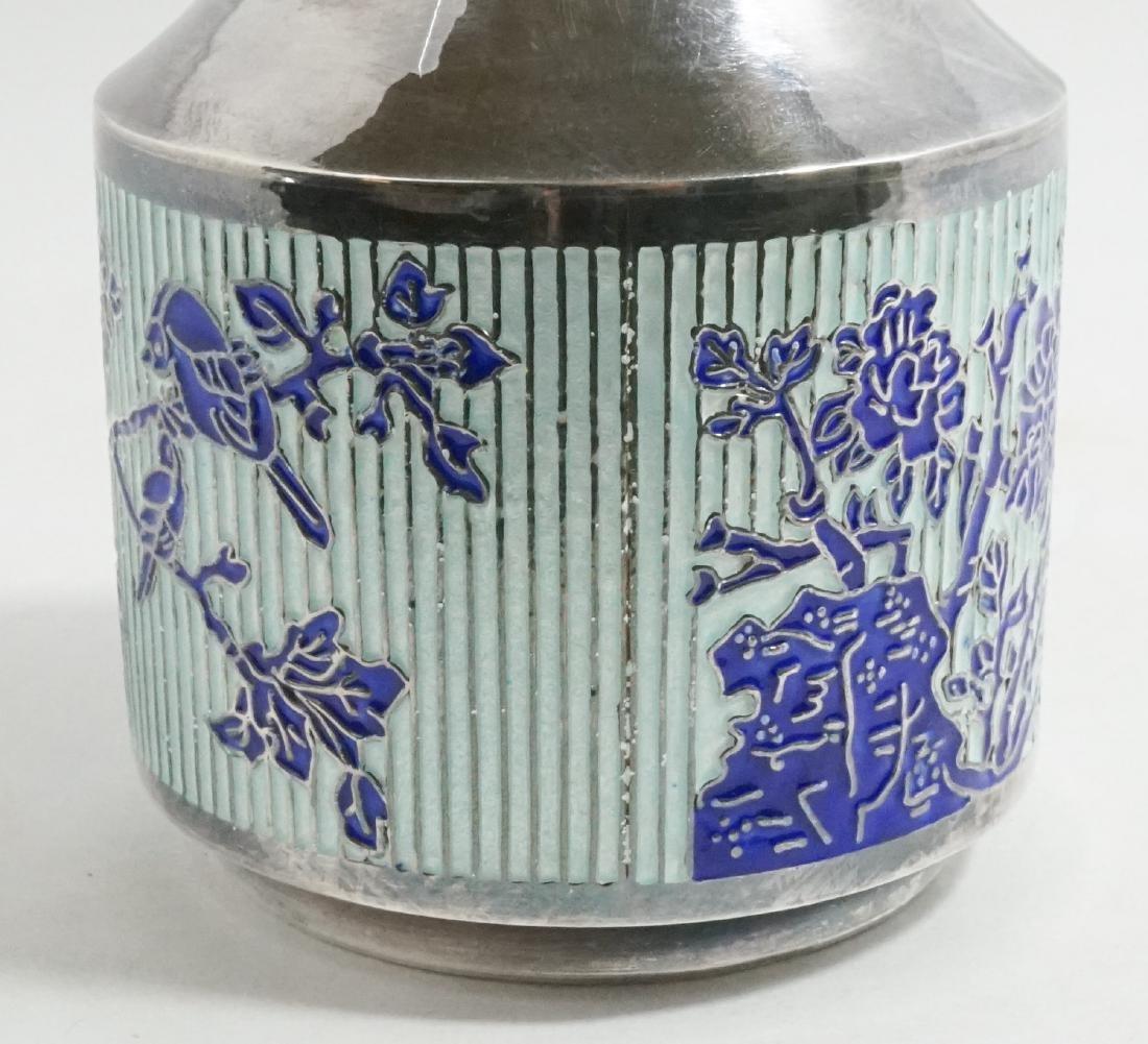 Fine Asian 99% Silver and Enamel Vase - 3
