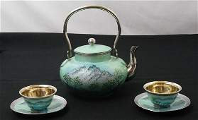 Asian Silver and Enamel Tea Set