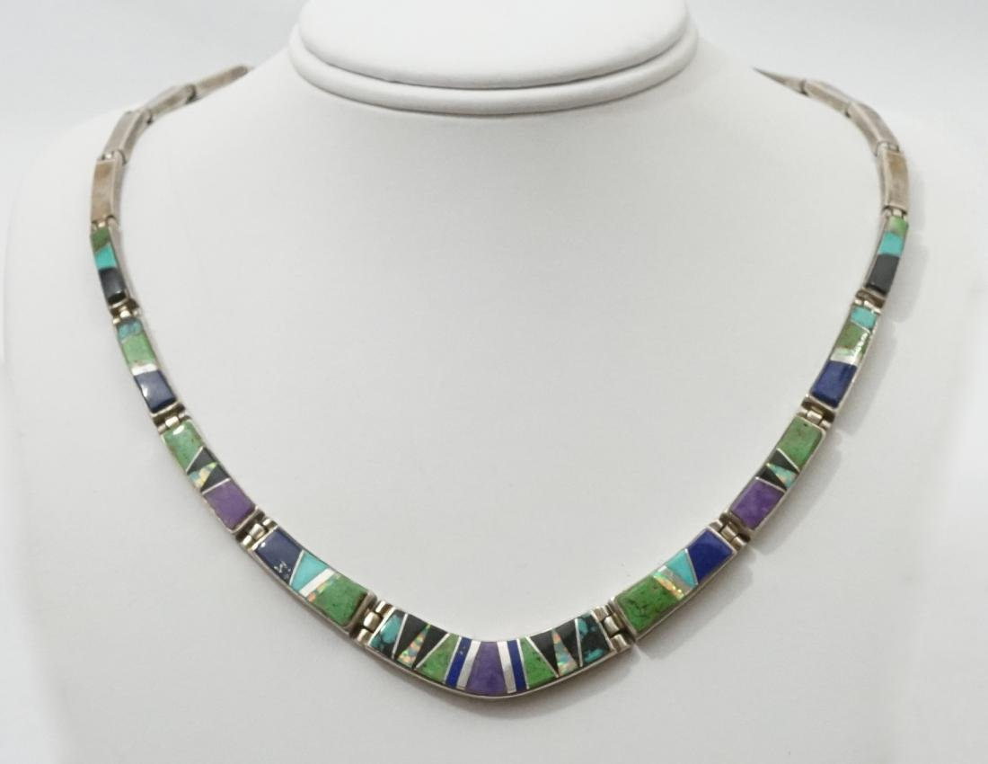 Calvin Begay Sterling and Inlaid Necklace
