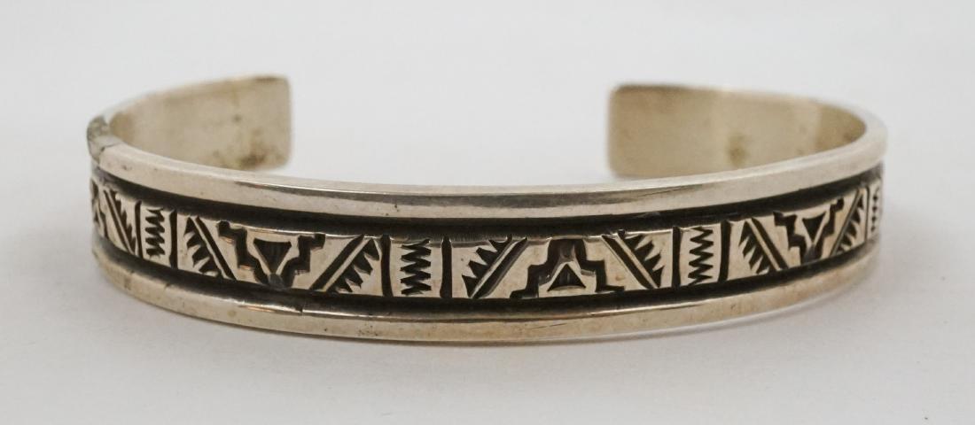 Troy Laner Signed Navajo Sterling Cuff Bracelet