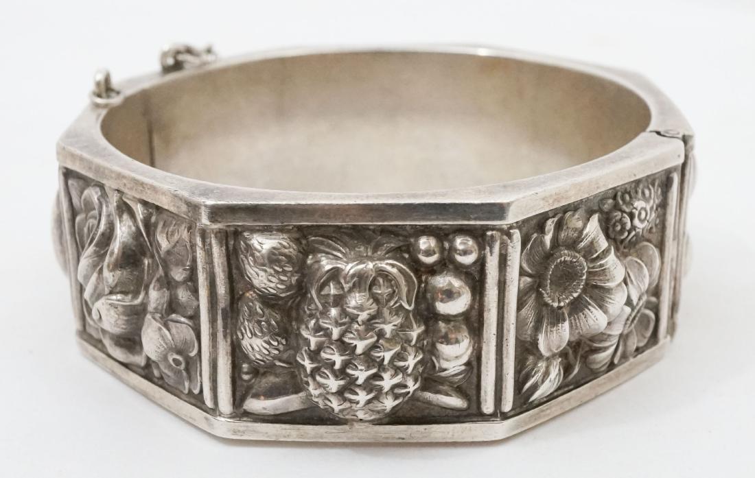 Continental Silver .833 Signed Floral Bracelet