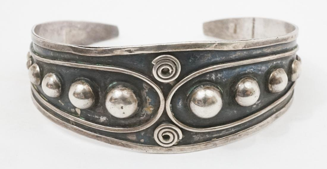 A Fine Old Silver Cuff Bracelet Signed Illegibly