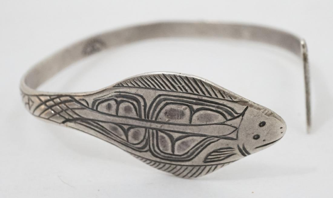 Northwest Coast Signed Sterling Cuff Bracelet