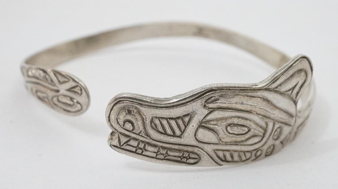 Northwest Coast Signed Sterling Cuff Bracelet ETJ