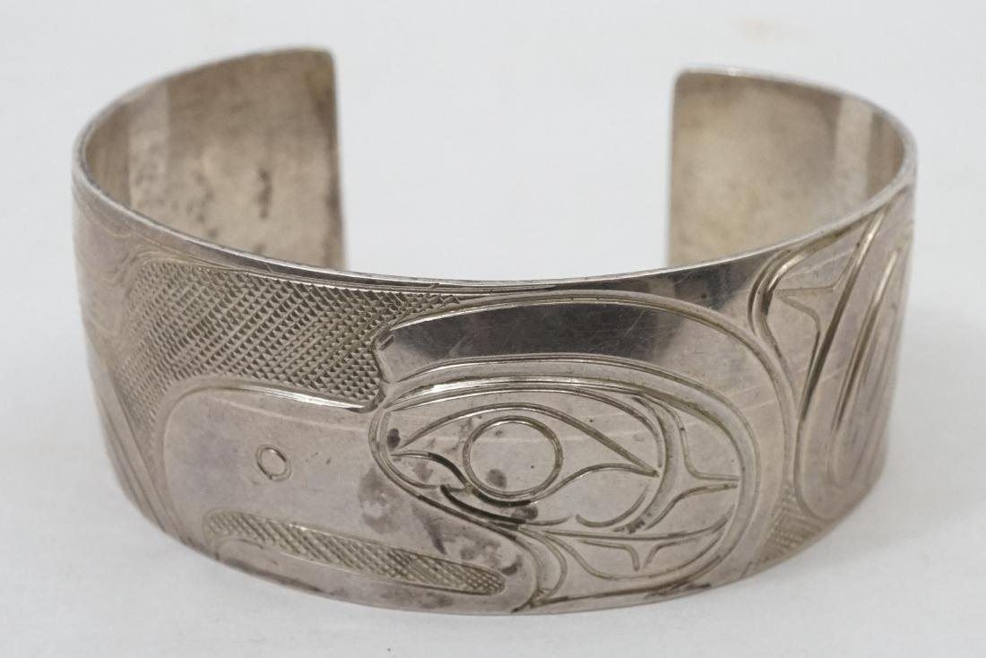 Northwest Coast Silver Cuff Bracelet Signed PS