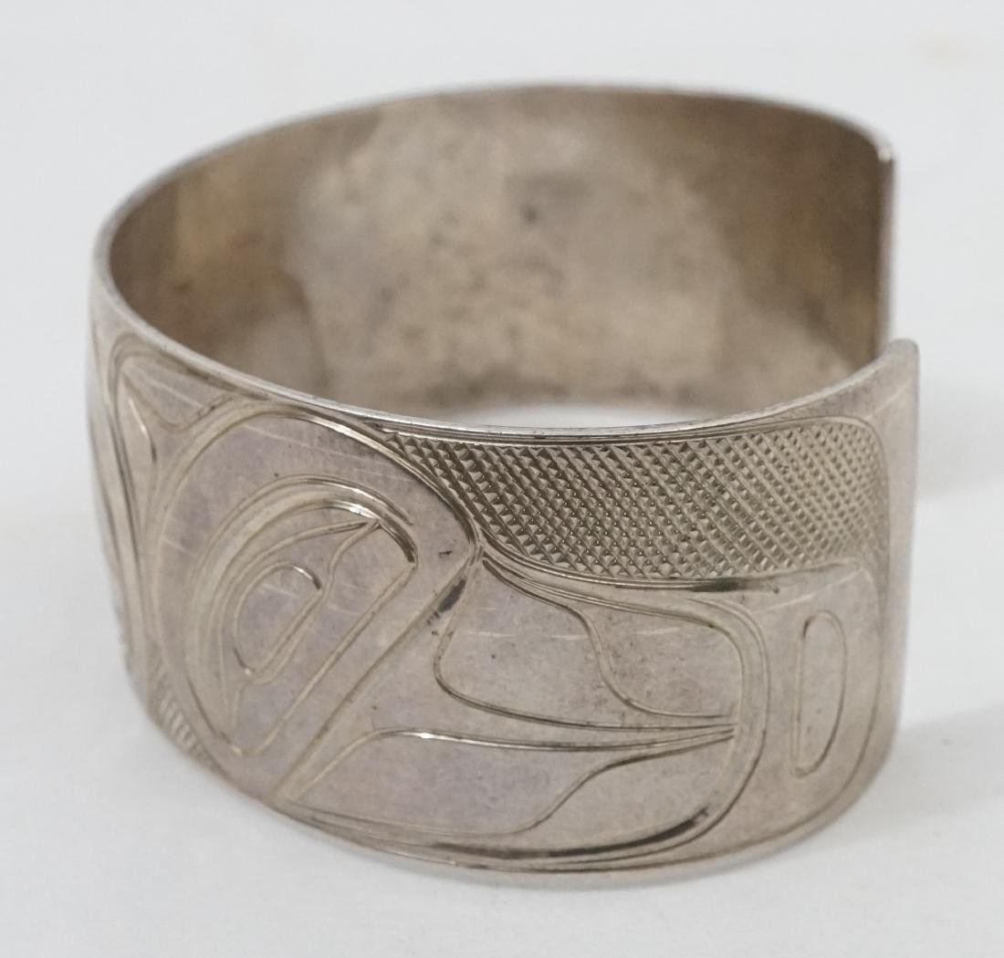 Northwest Coast Silver Cuff Bracelet Signed PS - 2