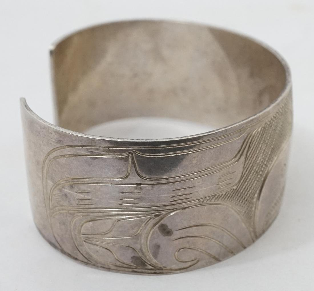 Northwest Coast Silver Cuff Bracelet Signed PS - 3