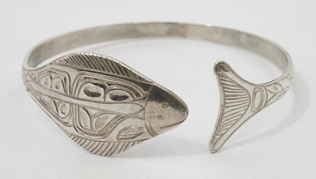 Northwest Coast Signed EJT Sterling Bracelet