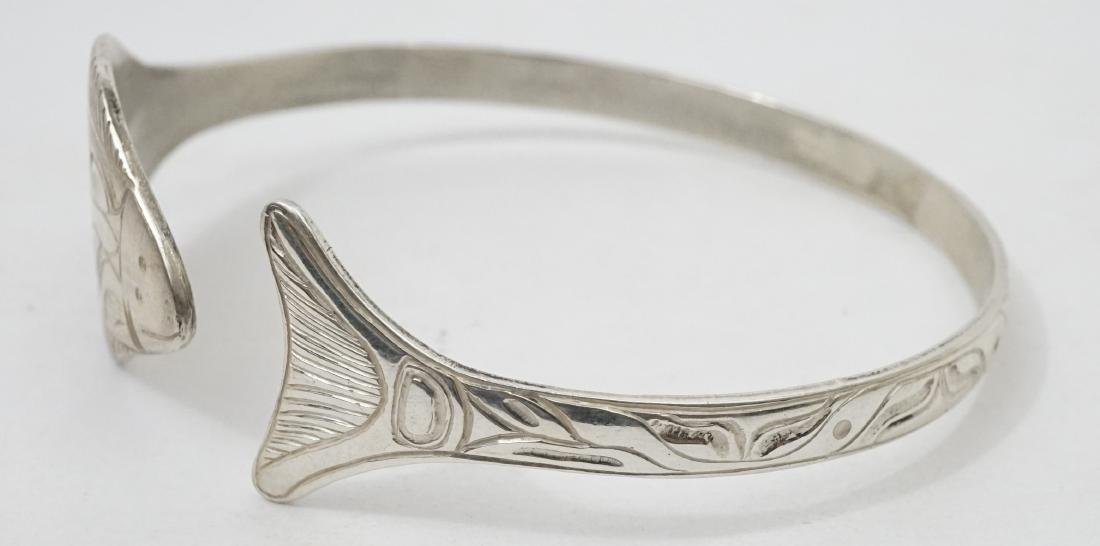 Northwest Coast Signed EJT Sterling Bracelet - 2