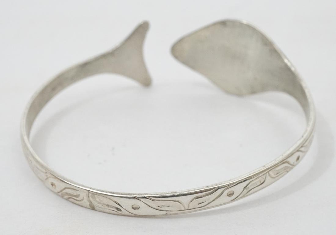 Northwest Coast Signed EJT Sterling Bracelet - 3