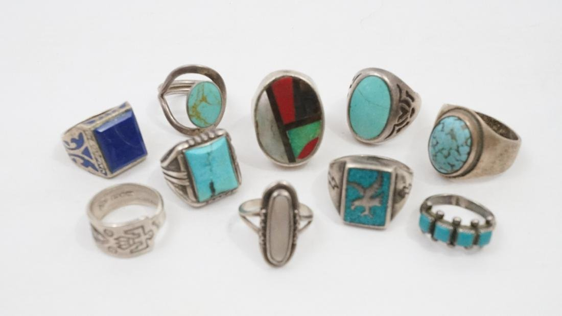 Ten Vintage Native American Southwest Rings