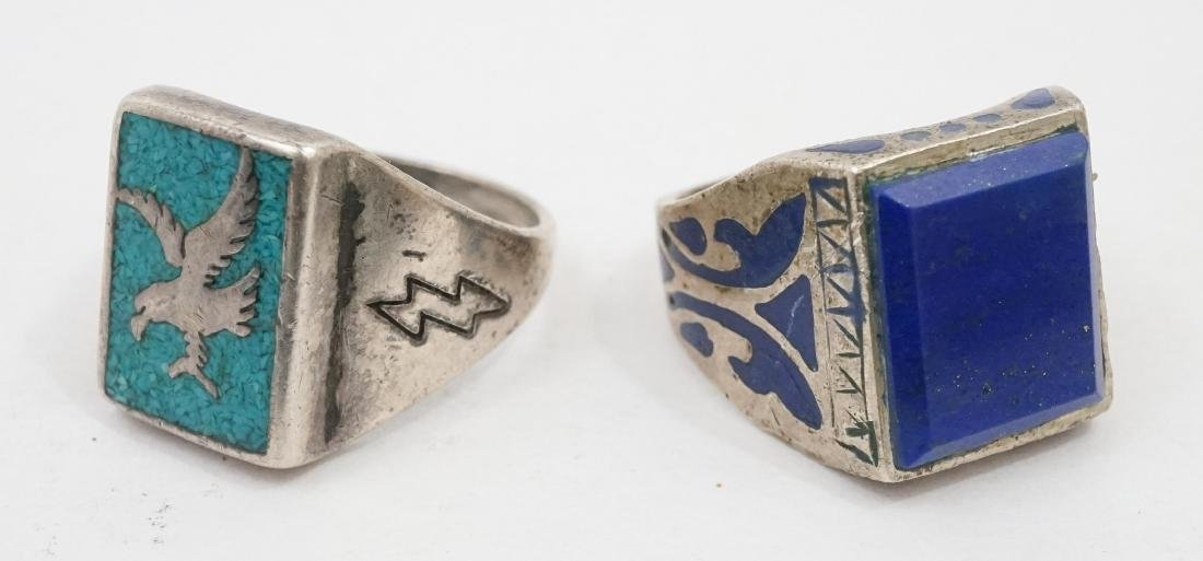 Ten Vintage Native American Southwest Rings - 4