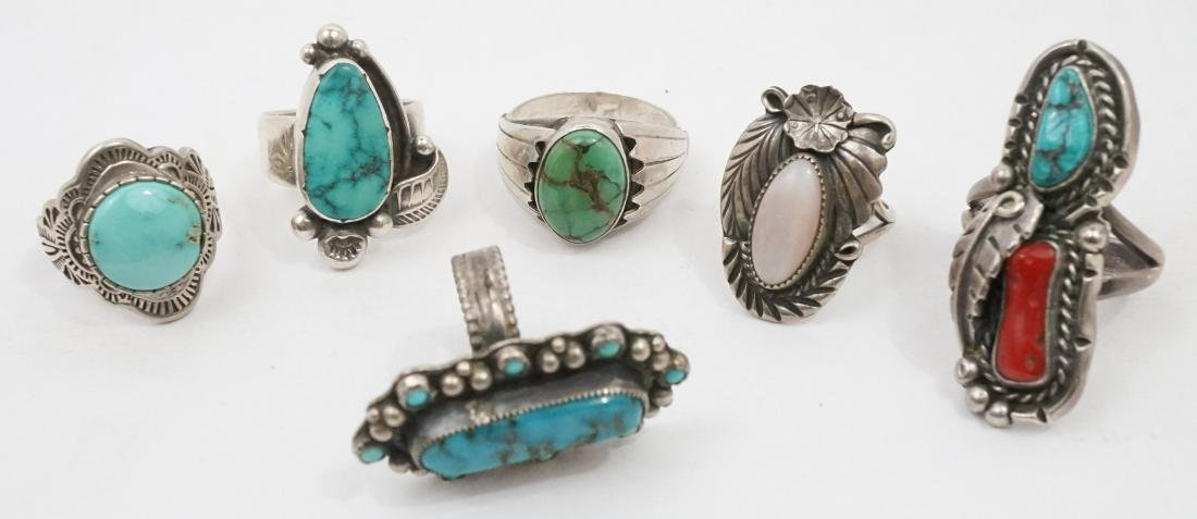 Six Vintage Signed Southwest Native American Rings