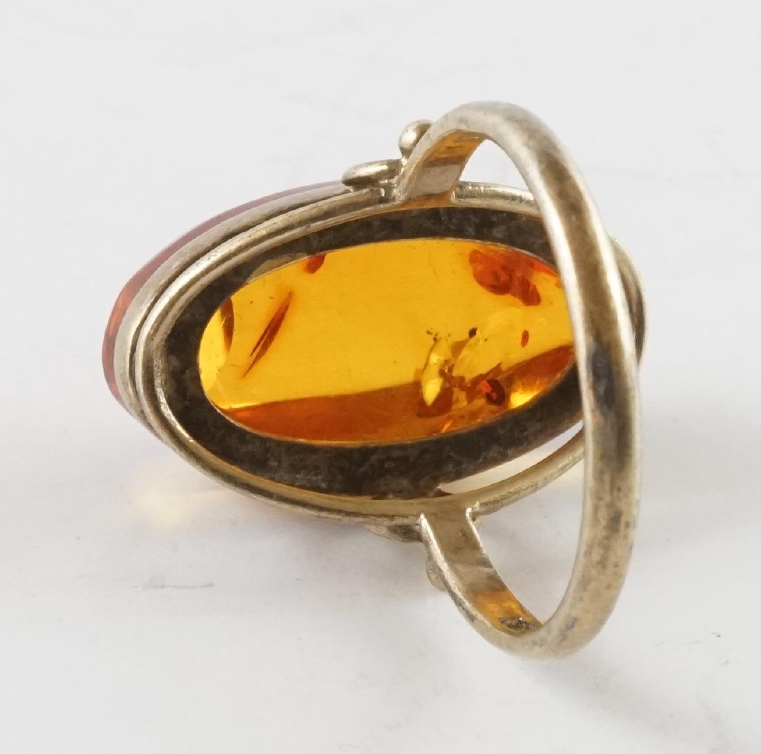21k Gold Amber Woman's Ring - 3