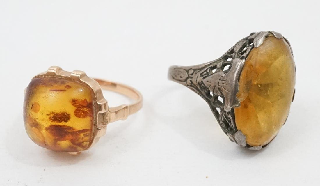 Two Antique Amber Rings