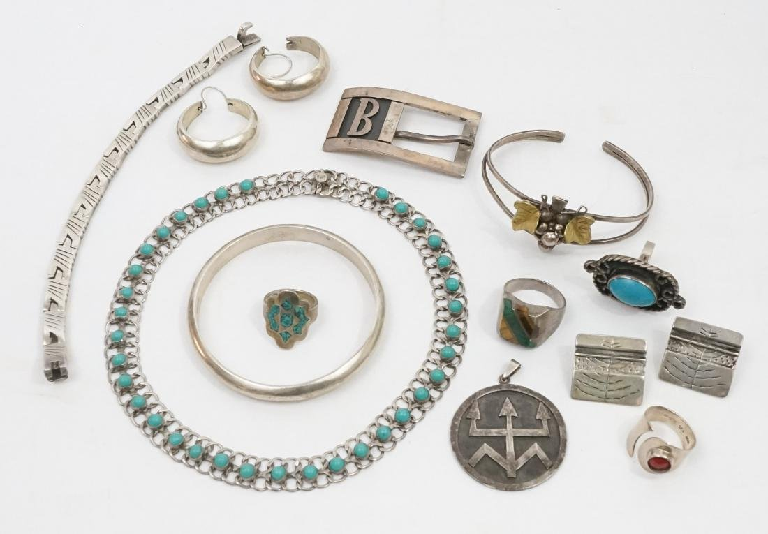 A Group of Mexican Sterling Jewelry