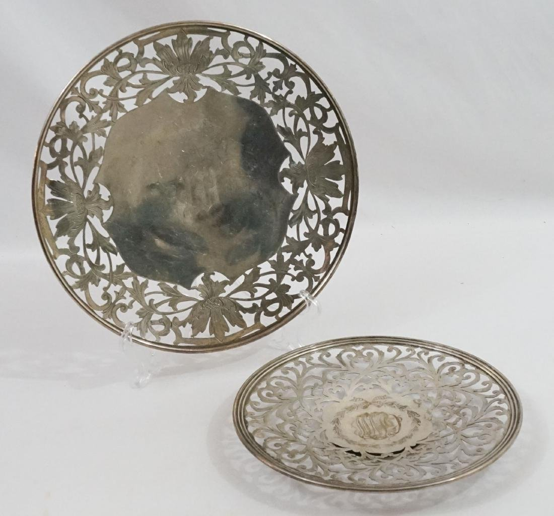 Two Sterling Silver Pierced Round Trays