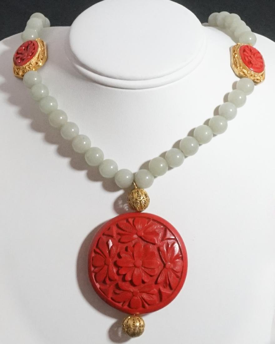 Old Chinese Jade Cinnabar Filligree Necklace