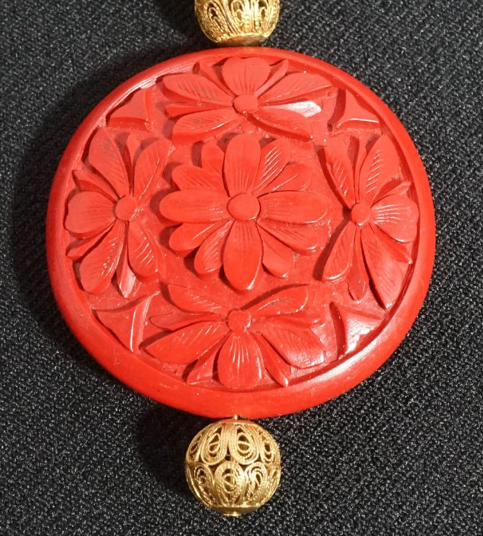 Old Chinese Jade Cinnabar Filligree Necklace - 2