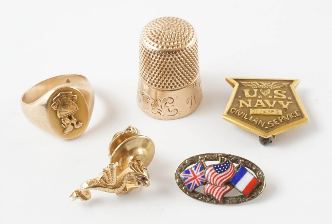 Antique Gold Pins, Ring and Thimble
