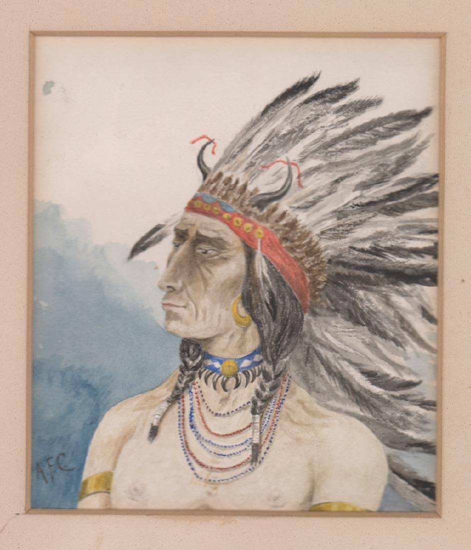 Antique Signed Watercolor of Native American
