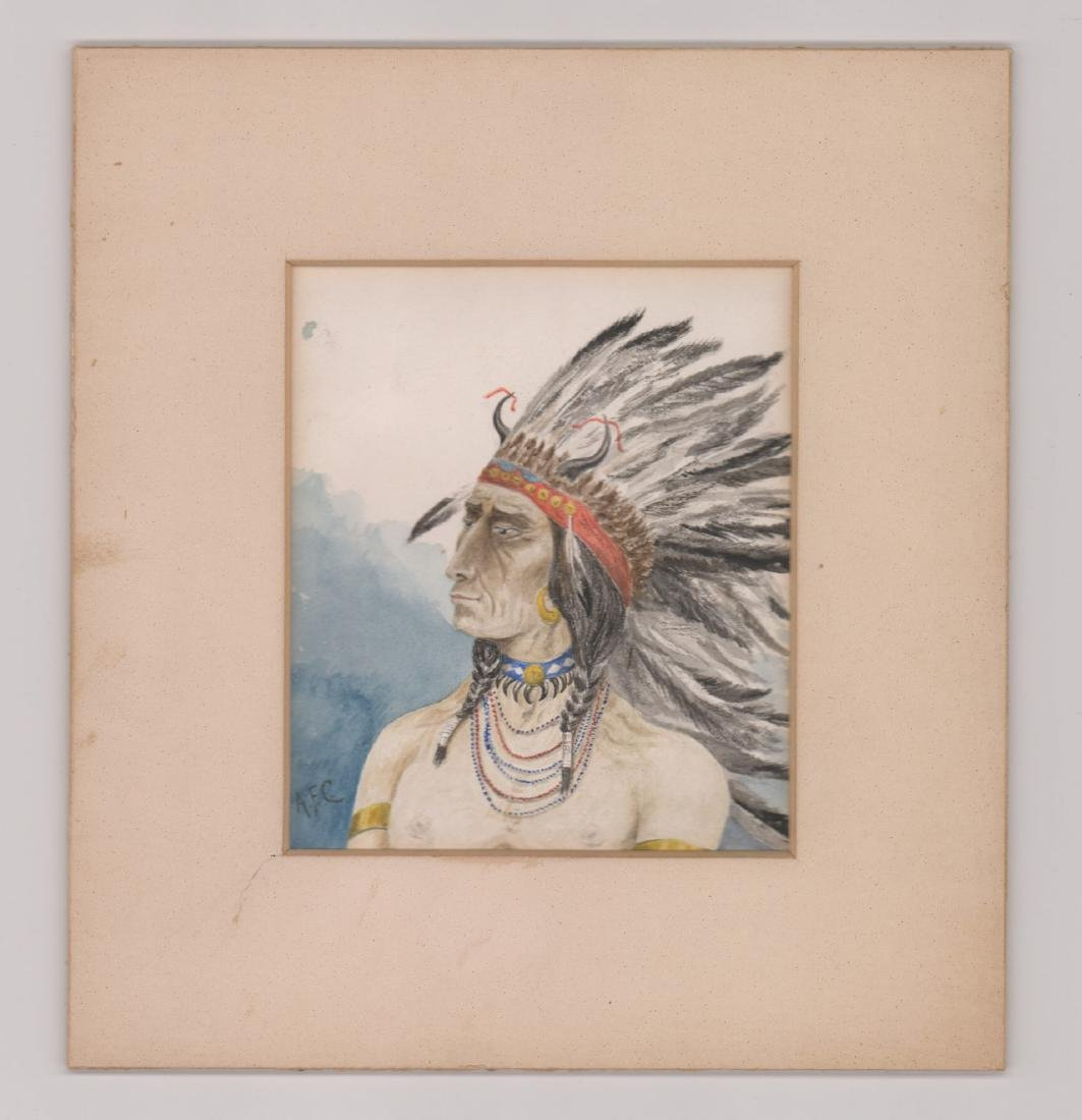 Antique Signed Watercolor of Native American - 2