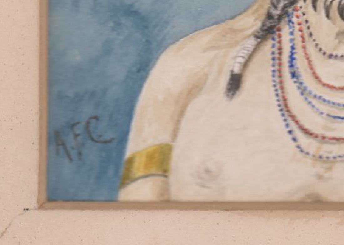 Antique Signed Watercolor of Native American - 3