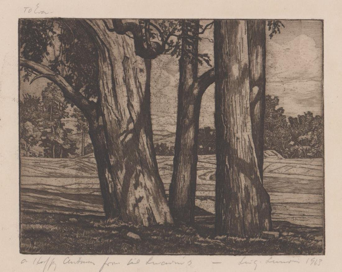 Luigi Lucioni Etching [Trees and Meadow]