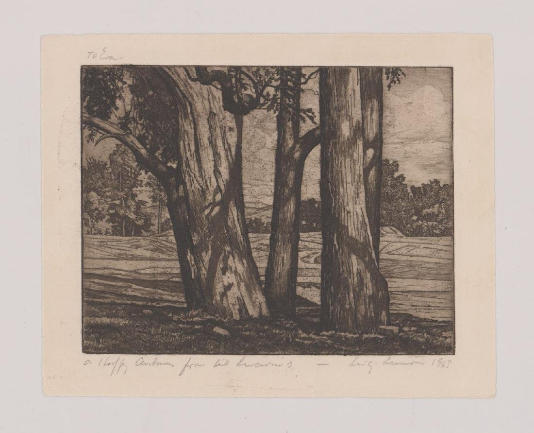 Luigi Lucioni Etching [Trees and Meadow] - 2