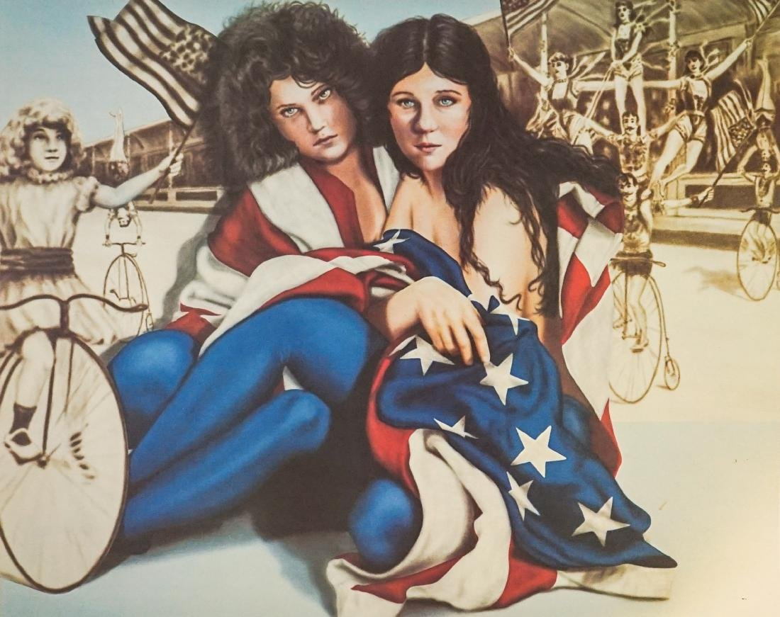 Robert Anderson Lithograph Ladies In Flag