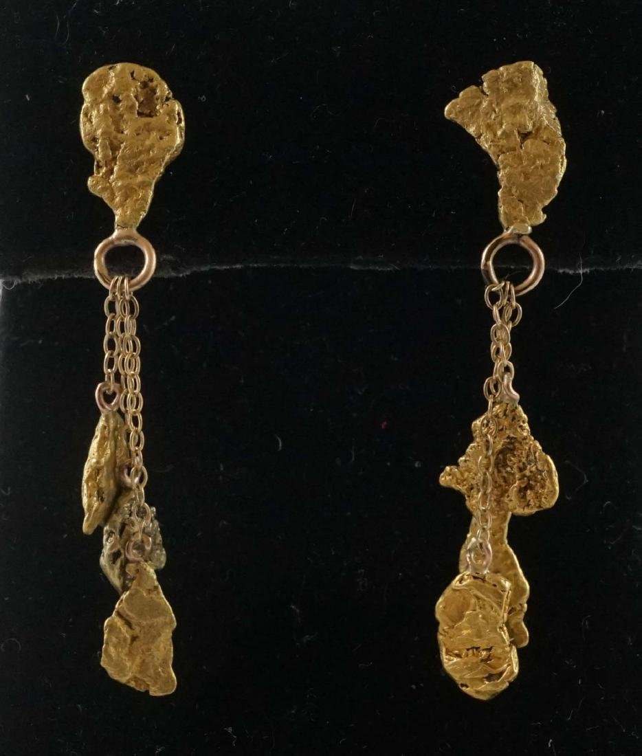 A Pair of Gold Nugget Chandelier Earrings