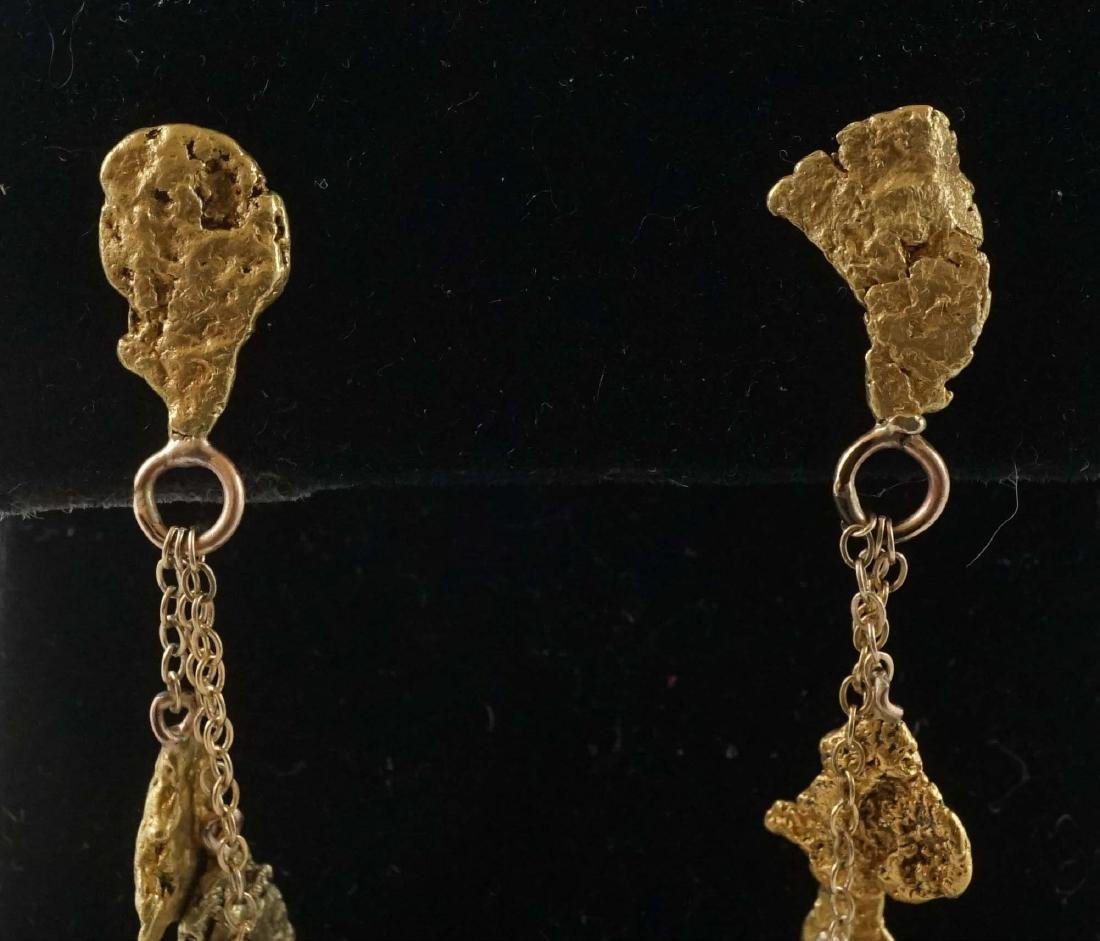 A Pair of Gold Nugget Chandelier Earrings - 3