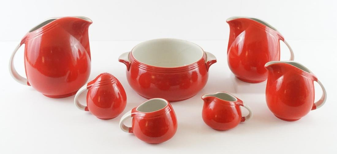 Seven Pieces of Hall Kitchenware in Red