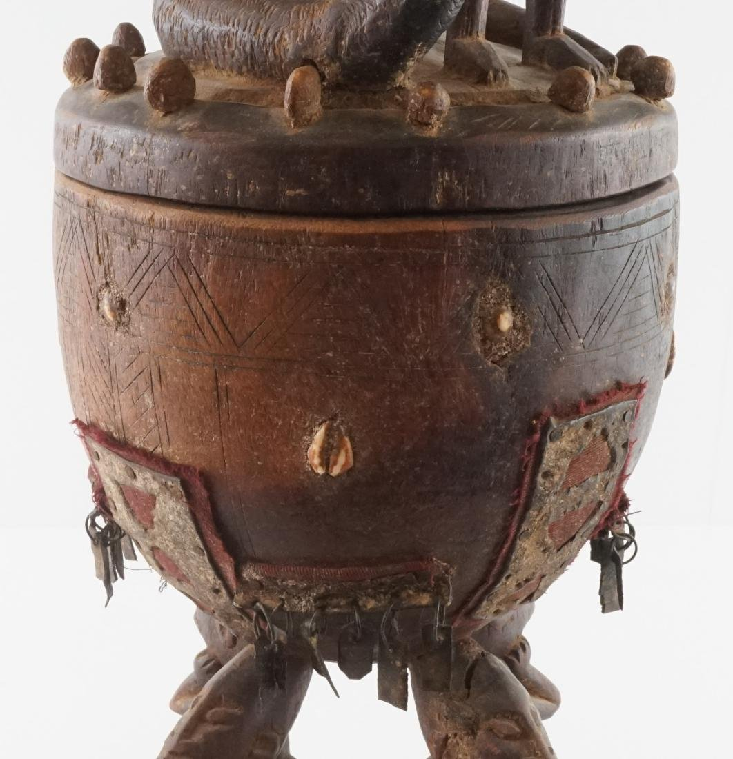 African Carved Wood Covered Figural Vessel - 3