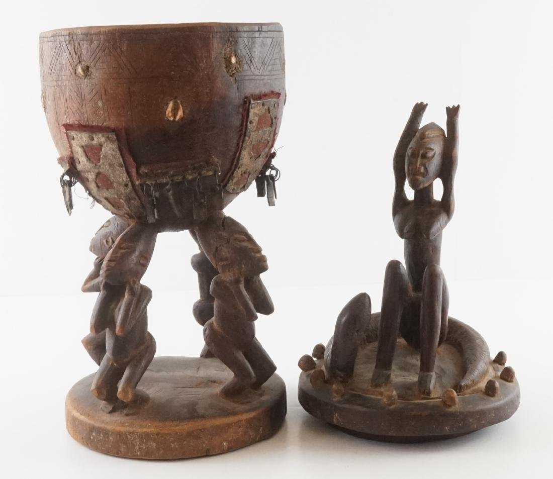 African Carved Wood Covered Figural Vessel - 6