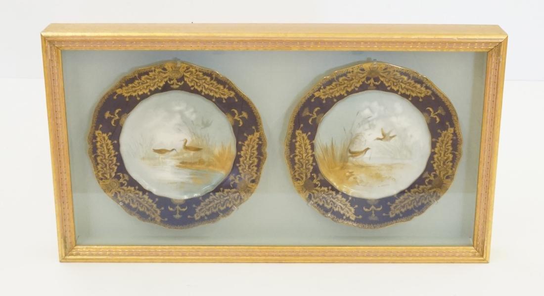 Haviland Limoges Cobalt Plates Signed J. Wright - 2